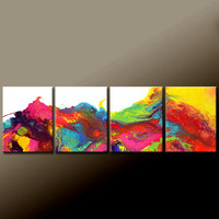 "4pc Abstract Canvas Art Painting 64"" Original Contemporary Modern Wall Art Paintings by Destiny Womack - dWo - Song of the Sea"