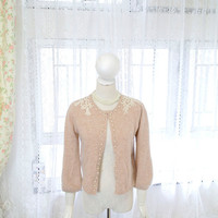 VINTAGE Fairytale elegance Lace crocheting pearl shoulder angora fur blend sweater cardigan dusty nude pink