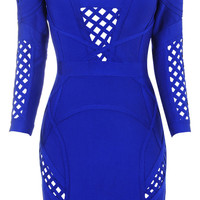 Clothing : Bandage Dresses : 'Selena' Cobalt Blue Mid Sleeve Bandage Dress