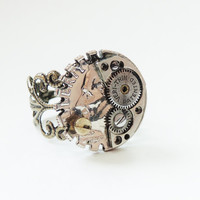 dime coin steampunk ring- watch movement parts adjustable ring