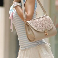 Crochet Lace Spliced Rivet Crossbody Bag