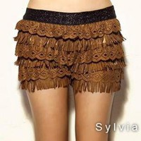 Camel suede fringed cake divided skirts