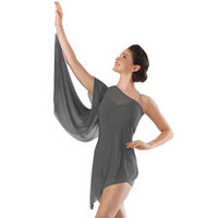 One-Shoulder Mesh Biketard Dance Dress; Balera