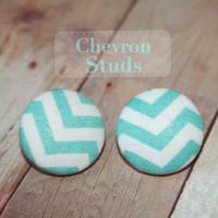 Chevron, Aqua and White Stud Earring , Button Earrings, Fabric Covered Stud Earrings