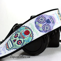 Sugar Skulls dSLR Camera Strap, Skull, Purple, Lime, Pink,  SLR