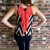 Black & Taupe Bow Back Blouse