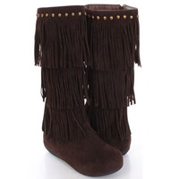 Dark Brown Fringe Boots Indian Moccasin Studs Vegan Suede 3 Tier Fashion Trend