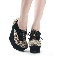 Women Platforms Wedge Lady High Heels Fashion New Suede Leopard Shoes Boots 1mX