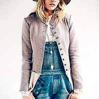 Free People Womens Military Ruffles Jacket -