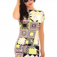 Multi Color Aztec Print Bodcyon Dress with High Neckline