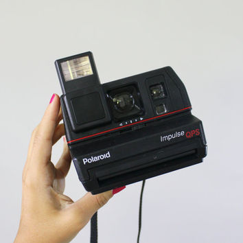 Vintage Polaroid Camera - Black 1980s Impulse QPS 600 Series / Flash Shot