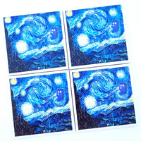 Doctor Who Coaster Set, Dr Who Van Gogh Tardis Starry Night, Drink Coaster, Doctor Who Gift, Doctor Who Art Print