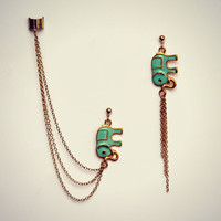 mint green elephant ear cuff earrings