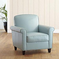 Sullivan Bonded Leather Chair, Cloud Blue  - Chairs and Ottomans - Cost Plus World Market
