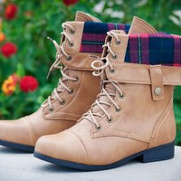 Bumper Freda-03X Plaid Cuff Lace Up Boot (Camel) - Shoes 4 U Las Vegas