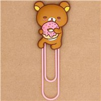 big Rilakkuma brown bear with donut paper clip bookmark - other cute things - Stationery