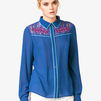Embroidered Lace Chiffon Shirt