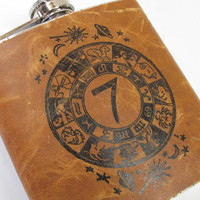 leather flask 6oz gift free customization personalization custom for you