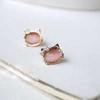 Sweet Pink Lolita Kittty Earrings