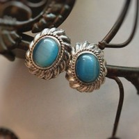 Vintage Blue and Silver Drop Stone Earrings Clip Ons