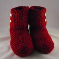 Crocheted Womens Button-Cuffed Slippers | stitchcrazysisters - Crochet on ArtFire