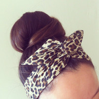 Leopard Dolly Bow Headband