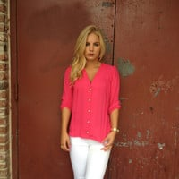 Fuschia 3/4 Sleeve Button Up Blouse