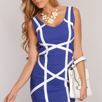 Royal Blue White Two Tone Sexy Party Dress