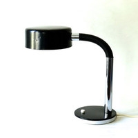 Vintage desk lamp black gooseneck chrome West German space age atomic Mid-Century 60s 70s