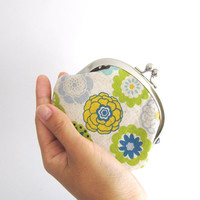 Frame Coin Purse- flowers on beige