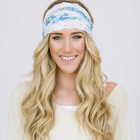 Wide Stretchy Headband Hair Bands BLUE Floral by ThreeBirdNest