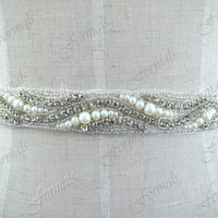 Vintage Style Rhinestone Crystals Ribbon Bridal Belt, Ivory Wedding Dresses Sash, Silver Crystal Belt