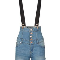 New Look Mobile | Teens Blue Super Braces Corset Short Dungarees