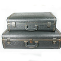 Vintage Hard Sided Vinyl Suitcase Pair Grey Blue