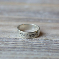 Hand Stamped Ring - Sterling Silver - Custom Name or Word Ring - Wide Ring - Personalized - Inspirational Ring