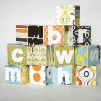 Mod Retro ABC Blocks with Personalized by tinygiraffeshop on Etsy