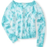 Long Sleeve Cropped Neon Tie-Dye Sweatshirt