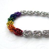 Rainbow Sweet Pea chain mail bracelet by TattooedAndChained