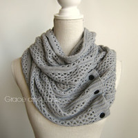 Nellie Knit Scarf - LT. GREY - open weave knit scarf with button closure infinity scarf - chunky scarf - knit infinity scarf - button scarf