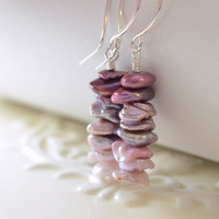 NEW Ombre Earrings, Shades of Purple and Lavender, Keishi Freshwater Pearl Stack, Wire Wrapped, Sterling Silver Jewelry, Free Shipping