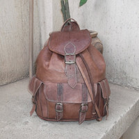 Moroccan Leather Backpack Rucksack back bag soulder by fezart