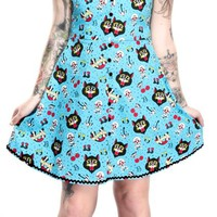 Halter Dress with Cherries Cats Horseshoes Skulls - Blue - by Sourpuss
