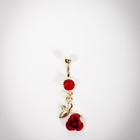 14 Gauge Red Rose Gold Banana Belly Button Ring