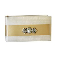 Ivory Silk Bound Photo Album with Brooch