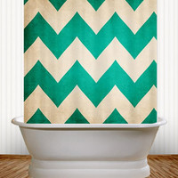 2013 Redux  - Pantone Emerald Green Chevron Shower Curtain - classic, classy,  bathroom, college, dorm, apartment, vintage, stripes, zig zag