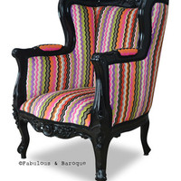 Fabulous and Baroque — Aveline French Wing Back Chair - Multi Color - LIMITED EDITION **WAS $1115 NOW $750**