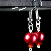 Red Glass Pearls and Faceted Crystal Earrings, Hypoallergenic, Silver