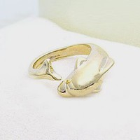 Gold Dolphin Ring Adjustable