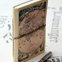 Handmade World Map Canvas and Cotton Parchment Travel Journal