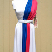 Vintage 70s Sundress / 70s dress / Blue and Hot Pink Dress / Athena Toga
